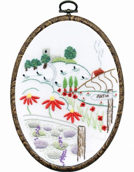 Church View Embroidery Hoop Kit